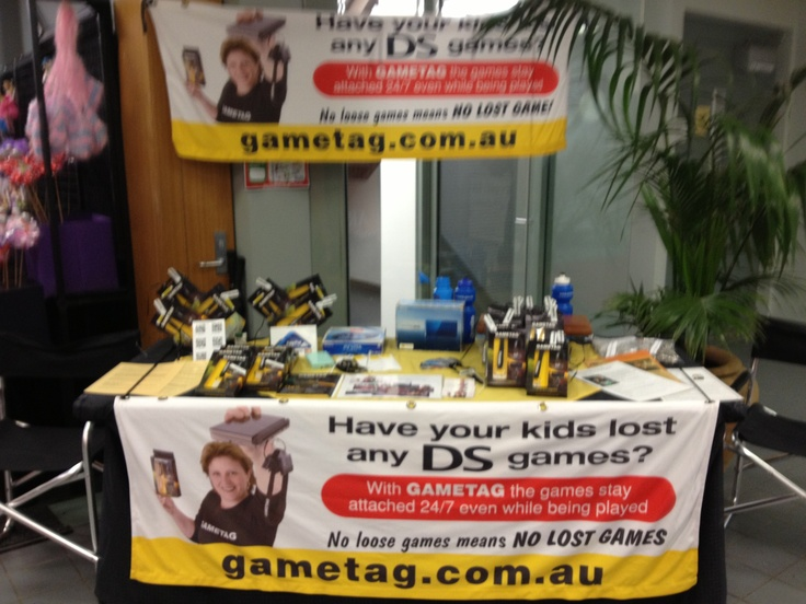 Gametag at the Canberra Show February 2013. No loose and lost DS games with Gametag, check out our youtube to see how it works http://www.youtube.com/watch?v=Wcy5hUlZuc4 Gametag DS game case and holder.