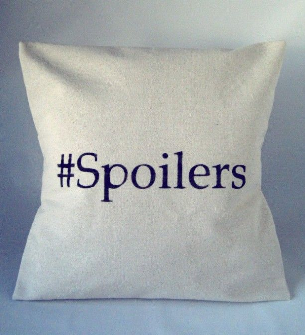 """For the Doctor Who Fan: Doctor Who Pillow Throw Spoilers - Hashtag Spoilers - Geek Chic - Gift idea for her - American made - handmade - With a wink, nod, and knowing smile, you can tell anyone who asks what it means """"Spoilers!"""" which will delight your fellow Whovians and confuse the rest."""