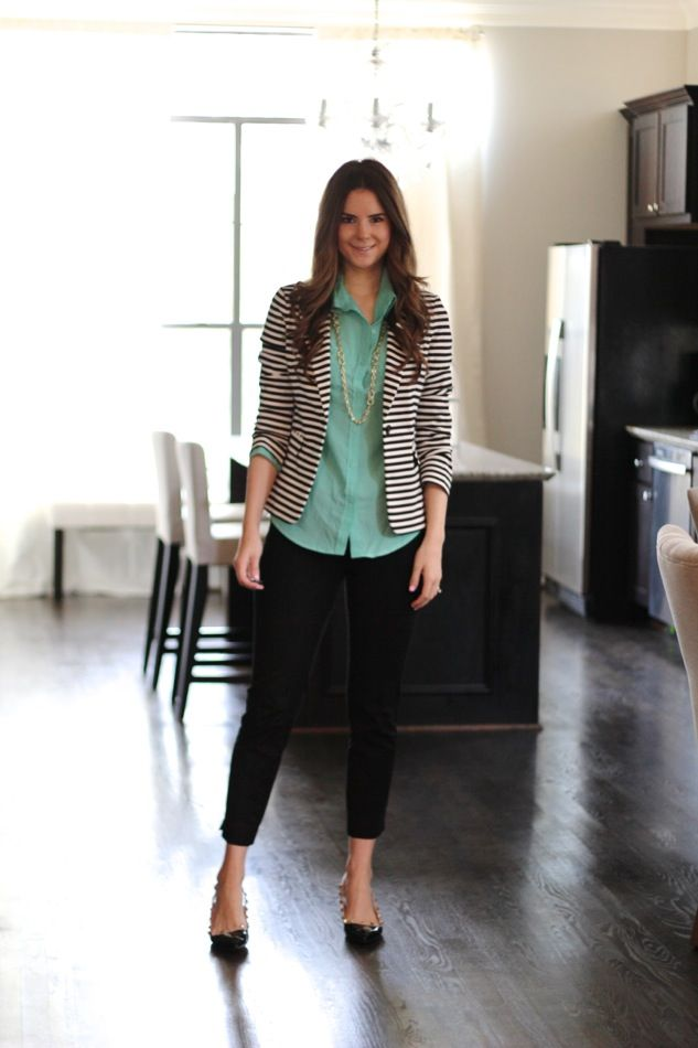 striped blazer + mint top - love that the top doesn't need to be tucked in with the blazer yet still looks work ready.