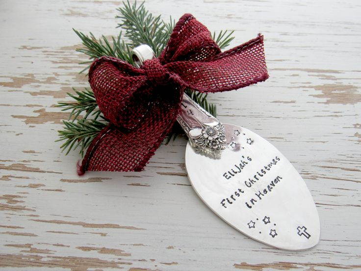 First Christmas in Heaven ornament - loss of baby ornament - miscarriage - remembrance gift - silver spoon - hand stamped - your color