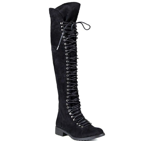 Suede thigh high combat boots Anyone interested? I will have a size 6.5 available next week. Let me know by commenting below.  Shoes Over the Knee Boots