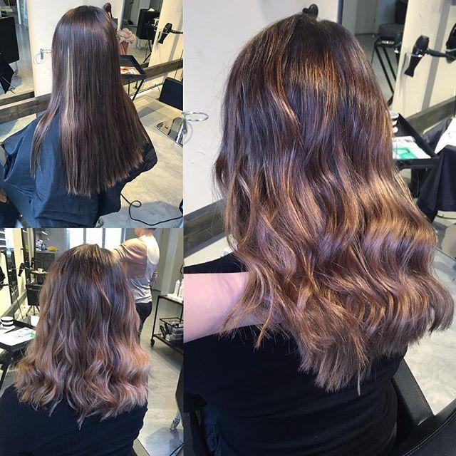 Big transformation today :) took a lot of length of and balayaged some warm toned highlights  #balayage #hairbyelisa #hairofinstagram #hairoftheday #elyciaturku #turku #luxima #curls #lob #sombre