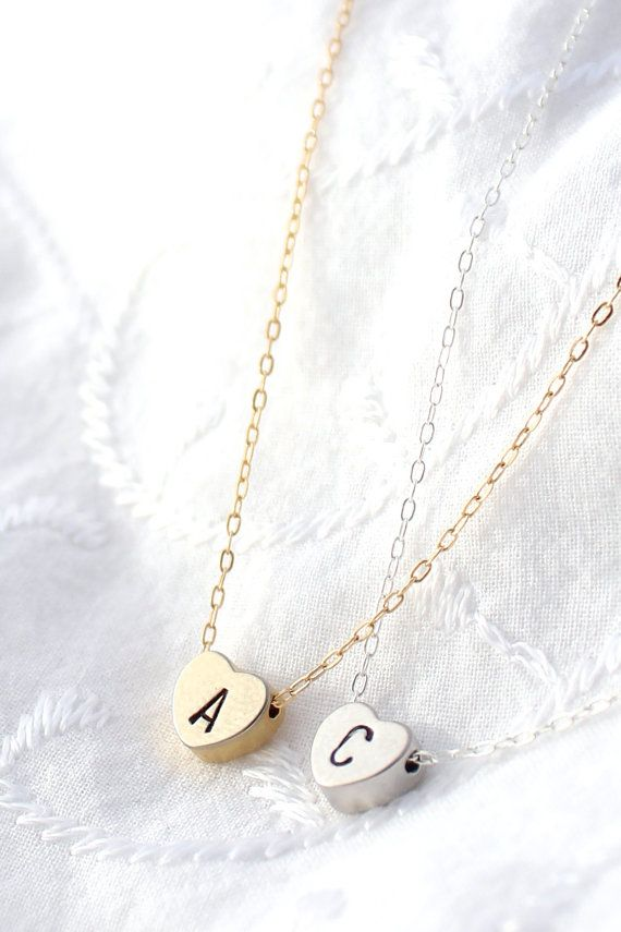 Silver Initial Heart Necklace Tiny Heart