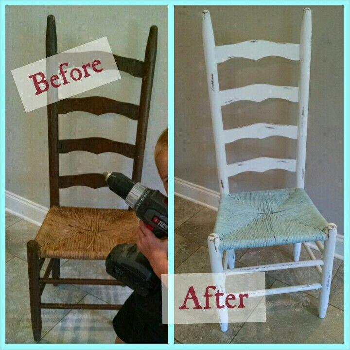 Shabby-chic ladder back chair makeover in white and pale blue   #thriftstorefind