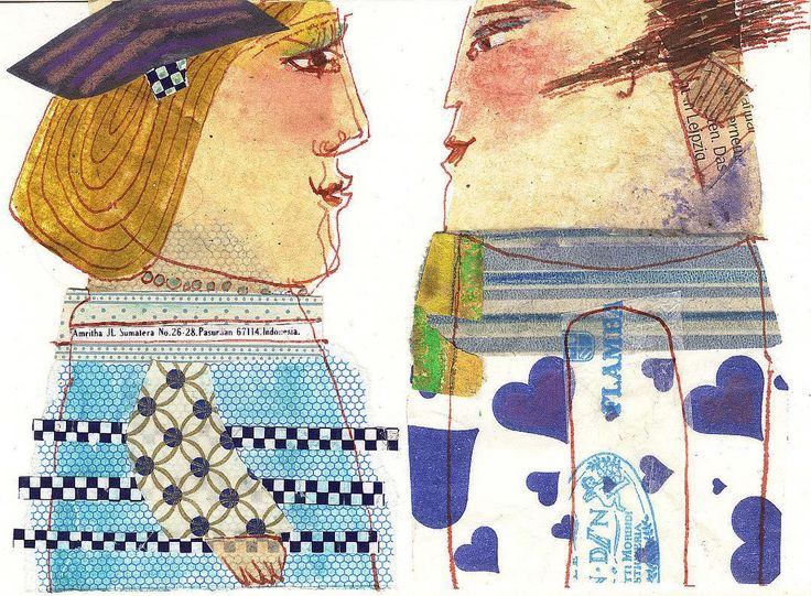 A postcard size drawing by Kristiane Semar from her sketch book depicting two visitors of Munich Oktoberfest. The man is wearing a frock made of a paperbag used for gebrannte Mandeln the roasted and sugary almonds sold everywhere at the world's most famous beer festival. #sketchbook #drawing #collage #oktoberfest #munich #couple #kristianesemar #sweet