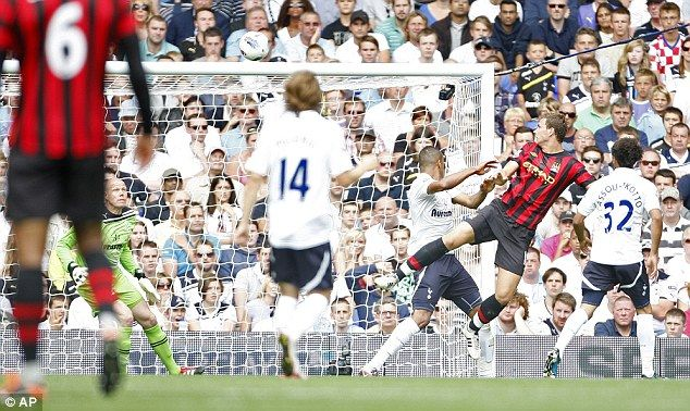 Tottenham 1 Man City 5 in Aug 2011 at White Hart Lane. Edin Dzeko makes it 2-0 with a great header after 41 minutes #Prem