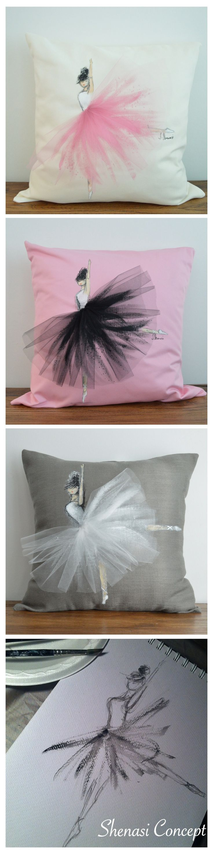 How adorable are these ballerina pillows from Shenasi Concept:
