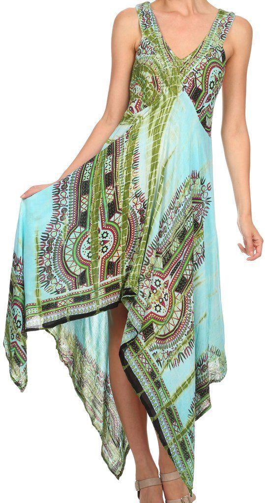 Sakkas Lala Smocked Back Handkerchief Hem V-Neck Sleeveless Dress | Sakkas Store