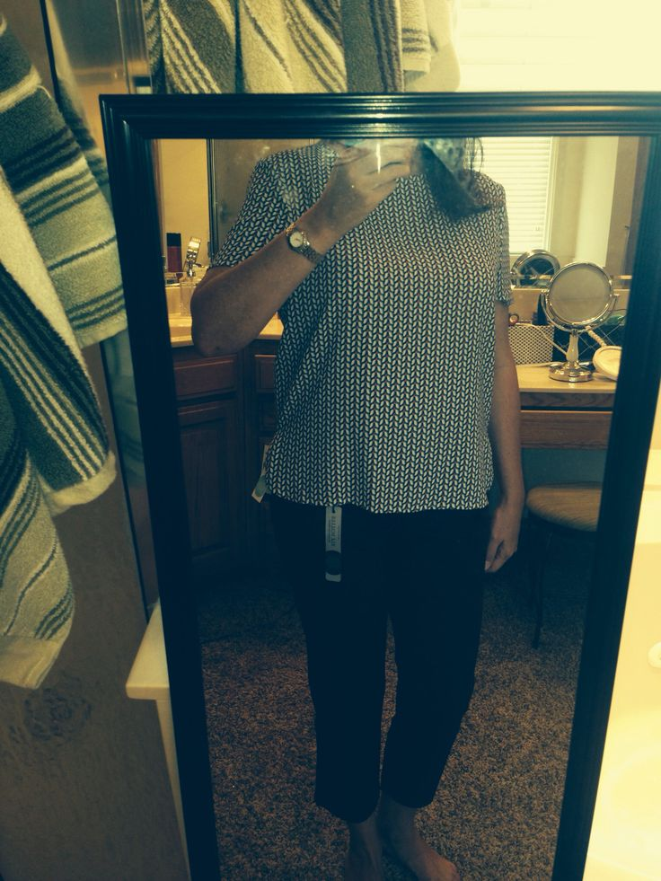 Sept '15: bow back blouse. Bows are a little cutsie for me but my hair will cover them. Like the pattern. Looks like vertical stripes. Very flattering