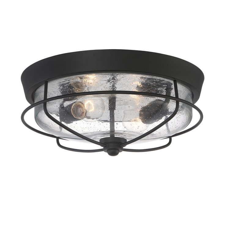 Portfolio Valdara 14.5-in W Matte Black Outdoor Flush-Mount Light