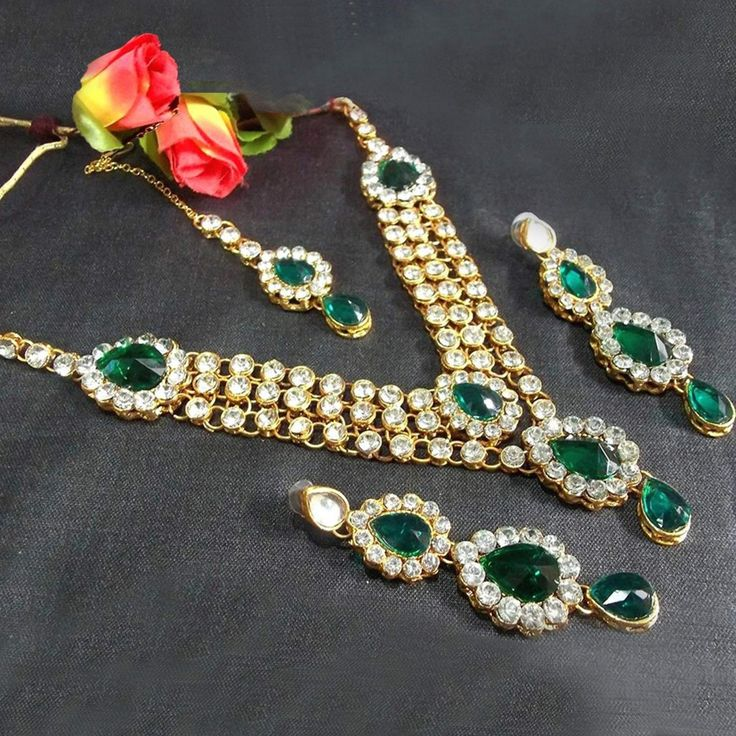 Buy Green Stone Three Line Necklace Set for womens online India, Best Prices, Reviews - Peachmode