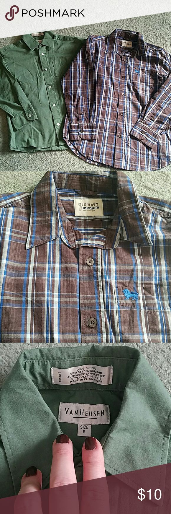 Boys dress shirts Two like new button down dress shirts. Green shirt is VanHeusen and 55% cotton 45% polyester. Size 8. Brown is Old Navy and new with tags. Also a Med. Van Heusen Shirts & Tops Button Down Shirts