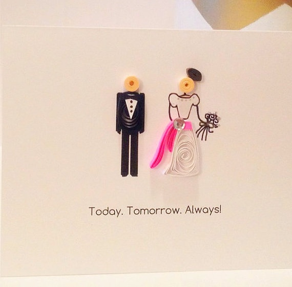Quilling Bride and Groom Wedding Card