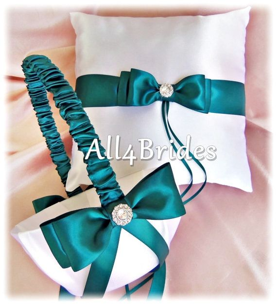 Teal Wedding Flower Girl Basket and Ring Bearer Pillow Set, Weddings Ceremony Accessories on Etsy, $60.00