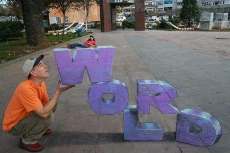 Drawing for Worldcard in Istanbul.  Julian Beever, 3-D sidewalk chalk art: Chalkart, 3D Street Art, Sidewalks Chalk Art, Optical Illusions, 3D Chalk Art, Art Drawings, Chalk Drawings, Sidewalks Art, Julian Beever