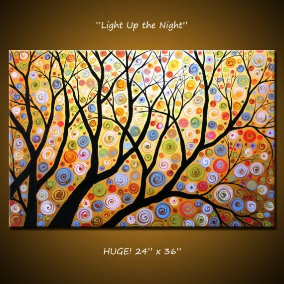 """Original Large Abstract Painting Modern Contemporary Landscape... 24"""" x 36"""" ... Light Up the Night on Etsy, $265.00"""