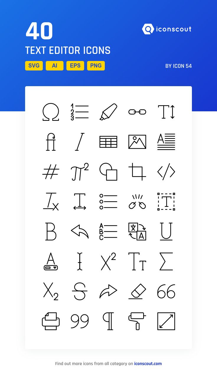 Text Editor  Icon Pack - 40 Line Icons