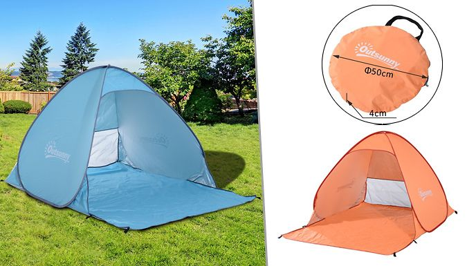 Buy 2-Person Pop-Up Tent (UV Shelter Shade) - Blue or Orange UK deal for just: £14.99 Shelter from the sun (or wind on the beach) in the2-Person Pop-Up Tent      'Pop-up' design makes setting up easy and fast.      Pre-attached poles and hubs simply pop