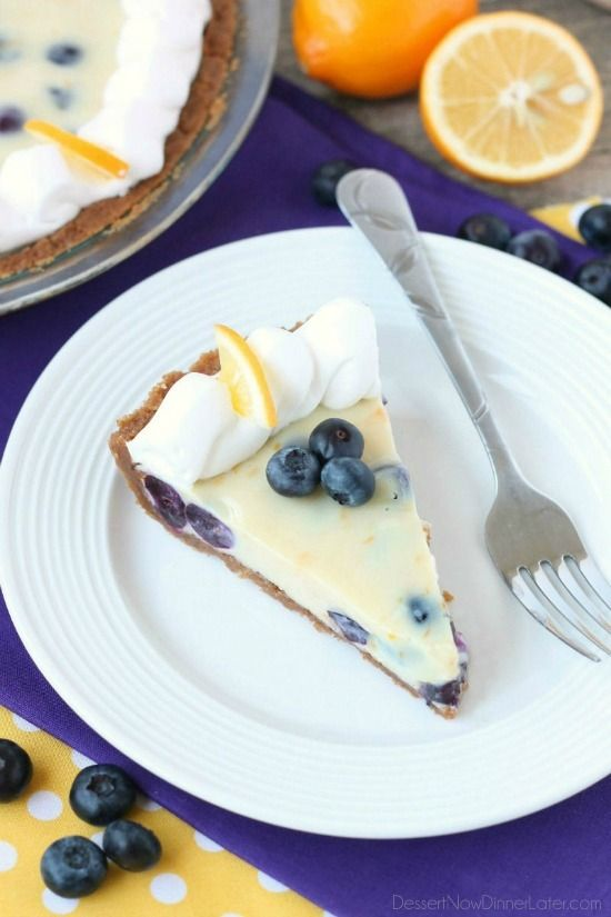 Just like key lime pie, this creamy lemon and blueberry pie has a buttery graham cracker crust and a zesty (Meyer lemon) citrus cream filling, withthe added bonus of plumpblueberries. Top it with fresh whipped cream and you've got adelicious fruity dessert!