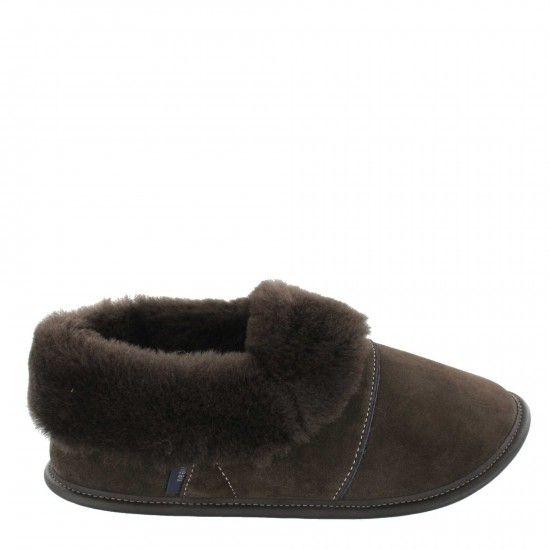 Pantoufle mouton et suède-Woman-medium-Brown-Brown Sheepskin
