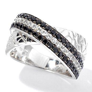 NYC II 1.46ctw Black Spinel & White Zircon Animal Print Textured Band Ring