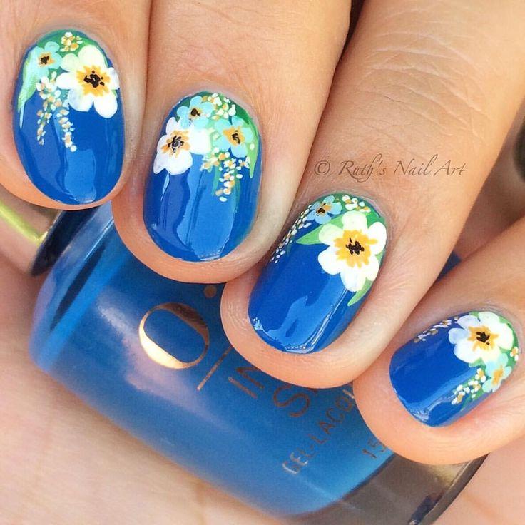"""Florals over """"Super Trop-i-cal-i-fiji-istic"""" #ruthsnailart #nailart"""