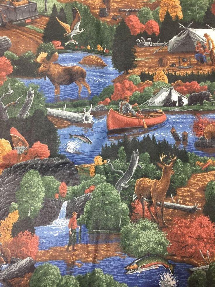 Joan Messmore VIP Cranston Hunting Fishing Canoe Elk Deer Waterfall Cotton BTY  | eBay