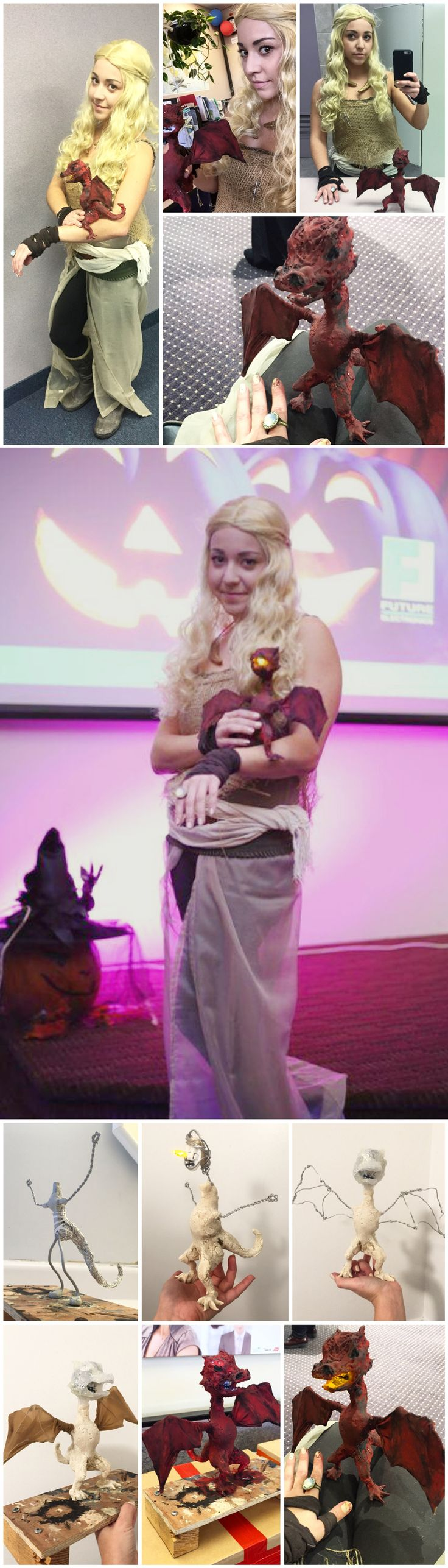 DIY Khaleesi / Mother of Dragons / Daenerys Targaryen from Game of Thrones costume on a budget for Halloween. Handmade dragon puppet; from the armature to the led lit glowing head! Everything was put together with items found around the house and leftover craft materials.The only pieces I bought was the wig for 20$ and a curtain & tea light from the dollar store!
