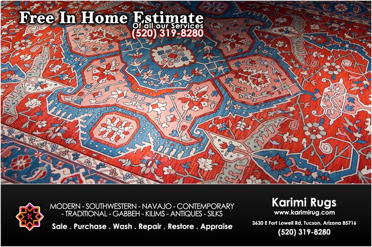 Save time with Karimi Rugs by getting Free in Home Estimate for your next #rug. Call us today @ (520-319-8280) to schedule your free in-home estimate.