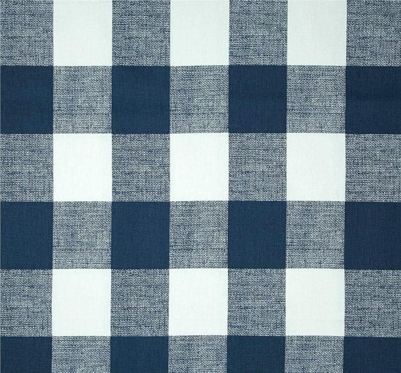 Navy Blue Buffalo Check Southwest Cabin Fabric By The Yard Designer Cotton  Curtain Drapery Upholstery Fabric Blue White Check Fabric B214
