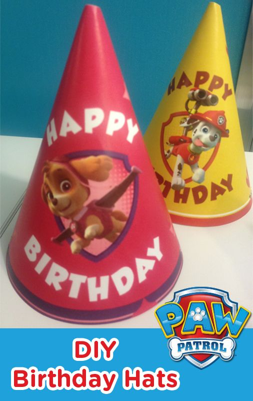 PAW Patrol Birthday Hats are easy to make! Just print the template, roll, glue... and get ready to party!