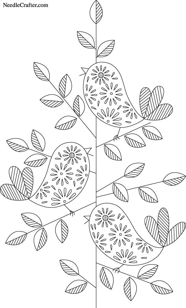 free embroidery pattern transfer-paisley-flowers-birds-leaves