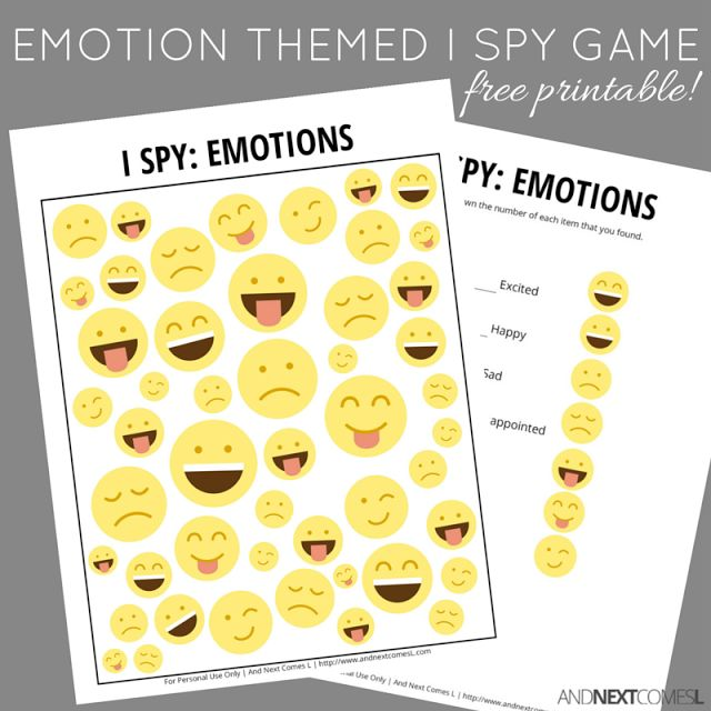 Free printable emotion themed I Spy game for kids from And Next Comes L