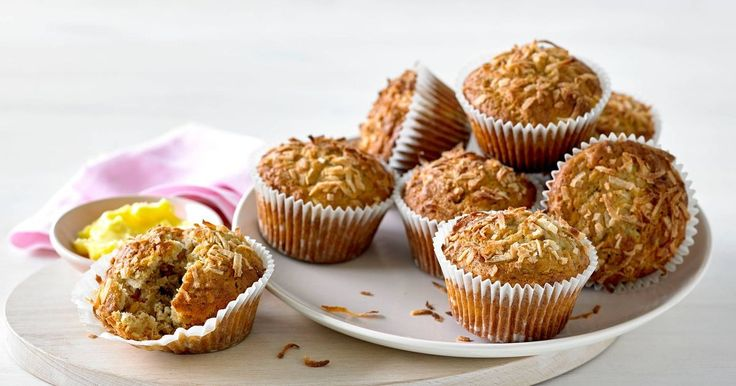 Try these banana muffins made with Sultana bran and shredded coconut for a tastyafternoon snack. Recipe by Courtney Roulston, MasterChef Australia Series 2 contestant.