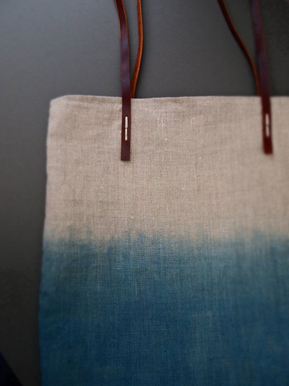 Ombre Misty Ocean Blue Organic dip-dyed natural Indigo linen easy summer tote bag with leather handles by JeannieDeans.  I love this. My summer bag conundrums would be over.