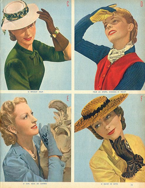Four lovely 1940s looks featuring coloured gloves.// I do miss wearing hats and gloves.