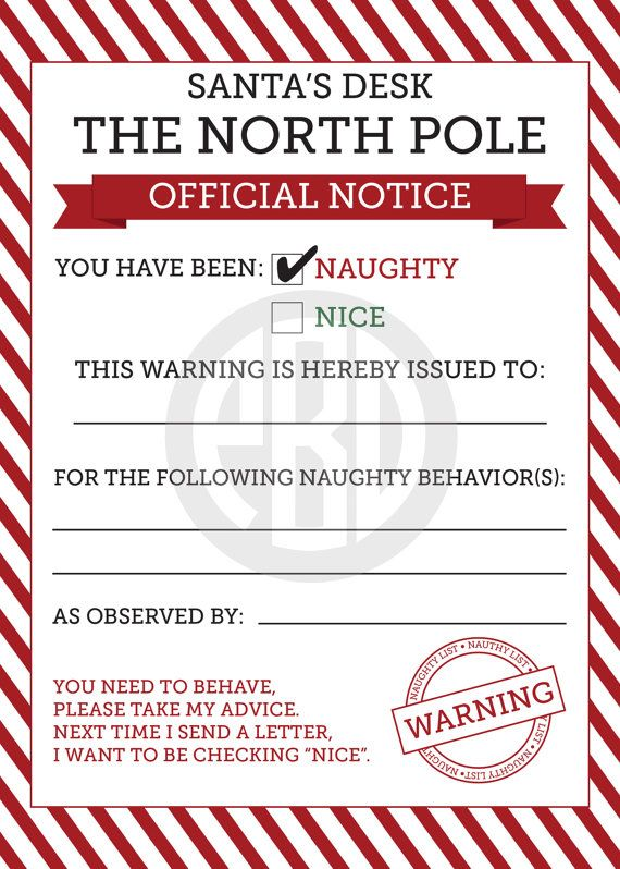 Naughty or Nice Notices - Could see the Elf giving Steve a naughty note for not cleaning the kitchen before Mom is home from work!! Ha ha!