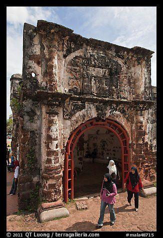 Porta de Santiago gate from A Famosa fort. Malacca City, Malaysia