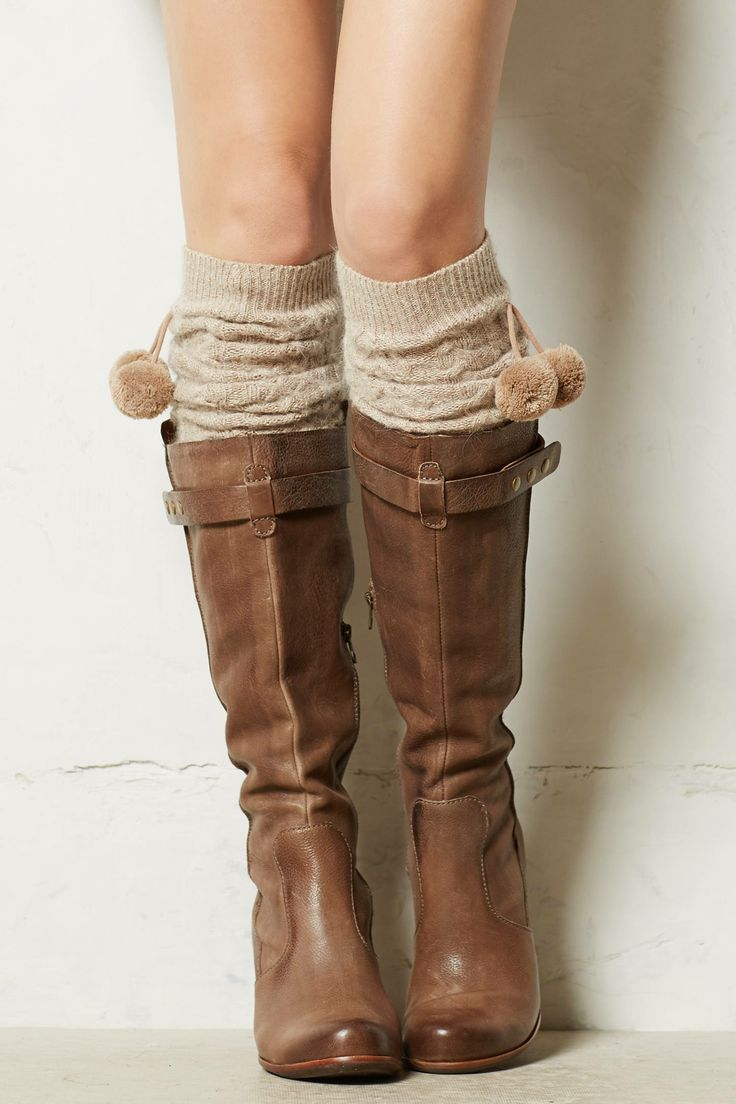 Love the pom-poms on these Cabled Leg Warmers - anthropologie.com