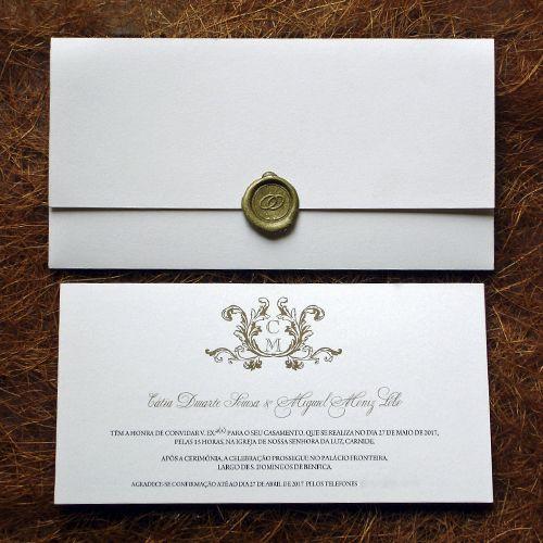 Convite de Casamento com lacre dourado e monograma, Convite de casamento clássico, classic wedding invitation
