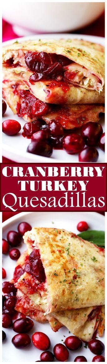 Cranberry Turkey Quesadillas - Sweet, tart cranberry sauce and tender turkey meat tucked inside melty, cheesy quesadillas.