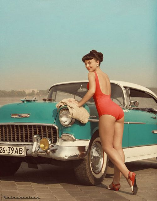 .Vintage Cars, Retro Cars, Pin Up Photography, Rats Rods, Pinup, Old Cars, Cars Wash, Vintage Girls, Hot Rods