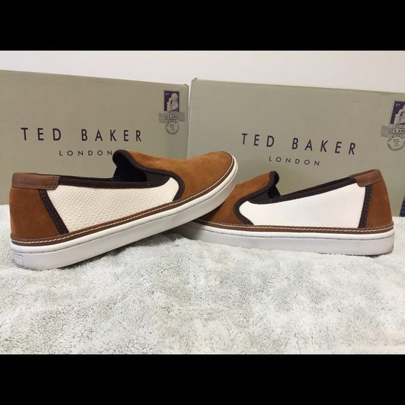 Ted Baker Slip-ons! Ted Baker Slip-ons. Size mens 10, women's size 11/11.5. Come with original box. Worn twice. Please feel free to make an offer, the price is negotiable! And please check out the rest of my closet, I give deals if you bundle items! Thanks! Ted Baker Shoes Sneakers