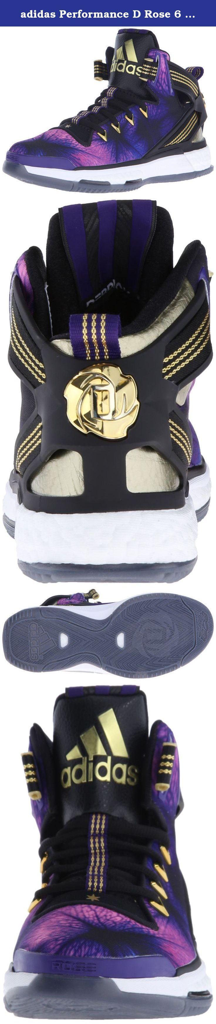 adidas Performance D Rose 6 Boost J Shoe (Big Kid),Black/Purple/Gold,5 M US Big Kid. Kid's Athletic Shoes.