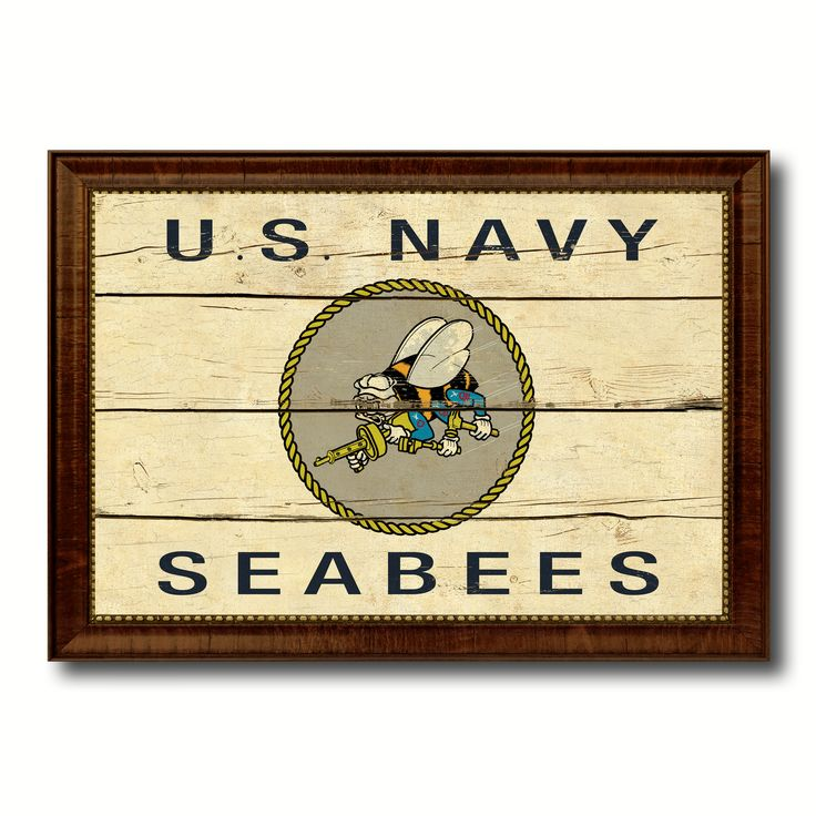 US Navy Seabees Military Flag Vintage Canvas Print with Brown Picture Frame Gifts Ideas Home Decor Wall Art Decoration