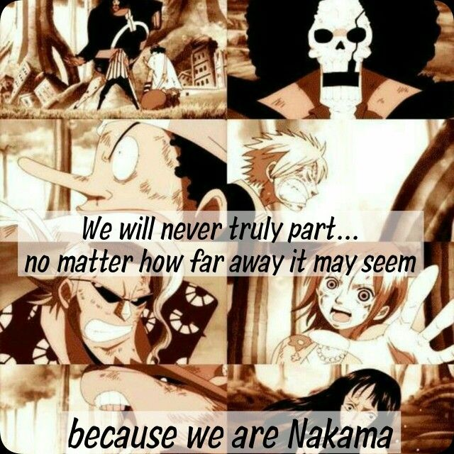 We will never truly part...no matter how far away it may seem, because we are Nakama, text, sad, Bartholomew Kuma, Straw Hat Crew, Mugiwara,  Zoro, Usopp, Brook, Sanji, Franky, Nami, Chopper, Robin, One Piece; Photo Collages