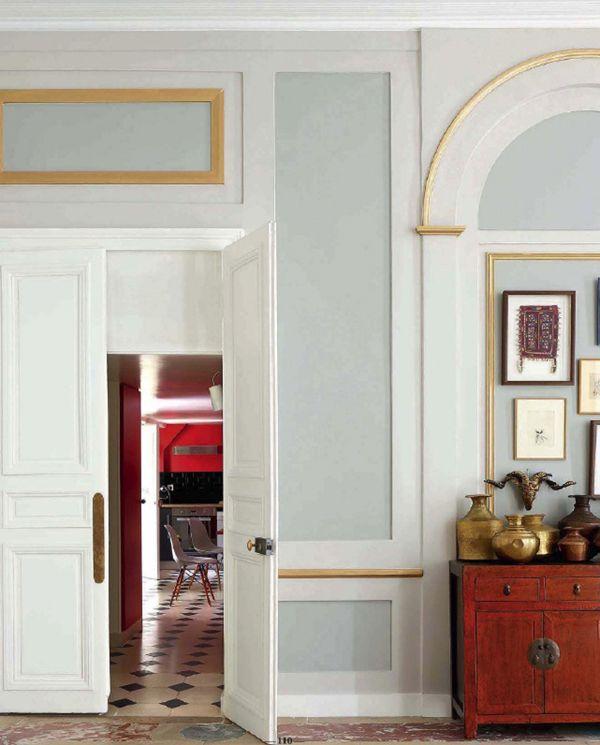 gold trim in the hallway