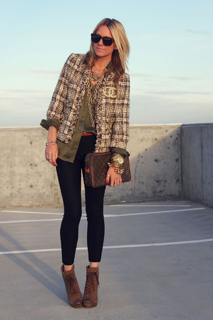 casual: olive green dress, black skinny jeans, Chanel jacket