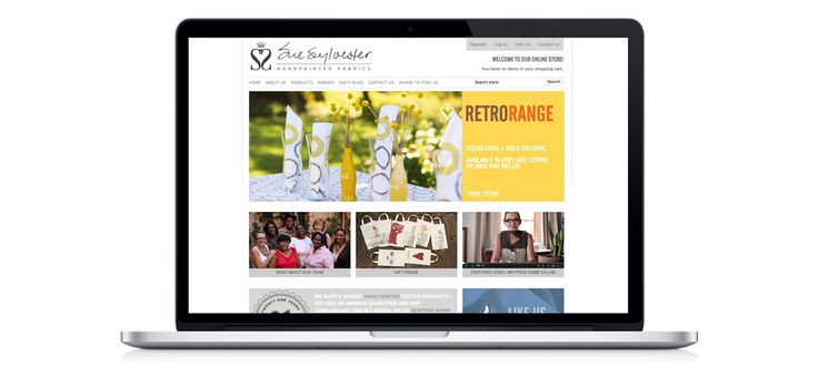 Sue Sylvester - Hand painted Fabrics: Responsive eCommerce Website Design, Development and Management by Electrik Design Agency www.electrik.co.za