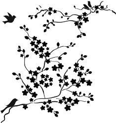 """Sjabloon Kersen Bloesem 30 x 30 cm. / Template Cherry Blossems 12 x 12"""" TCW177   Sjablonen 30 x 30 cm.   KiCoStamps"""